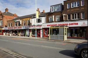 Exterior photograph of the Southport Carpet Centre showroom : 99-109 Eastbank Street : Southport : Merseyside : PR8 1DG